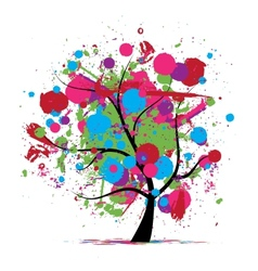 Funny grunge tree colors of summer for your design vector image vector image