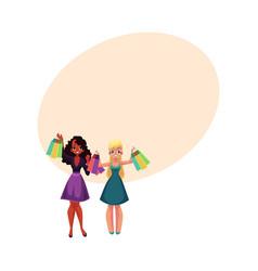 happy black and caucasian women girls friends vector image