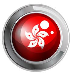 hongkong flag on round badge vector image