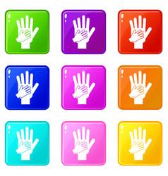 Parent and child hands together set 9 vector
