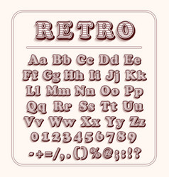 retro font on light red background the alphabet vector image vector image