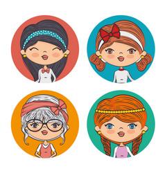 beautiful fashionable girls vector image vector image