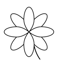 black line flower icon vector image vector image