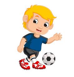 cartoon boy playing football vector image vector image