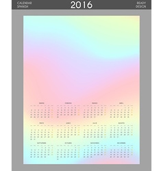 Modern calendar 2016 with colorful hologram in vector