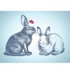 new year bunnies vector image