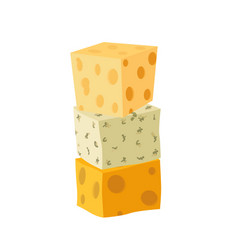 Three types of cheese cheddar parmesan danablue vector