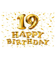 19 anniversary celebration with brilliant gold vector image