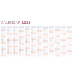 2021 calendar planner template with vertical vector