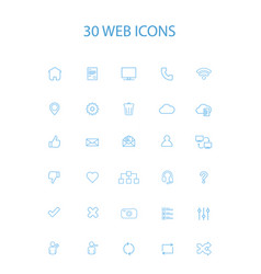 30 blue color simple web icons vector image