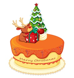 A cake with a reindeer and a christmas tree vector
