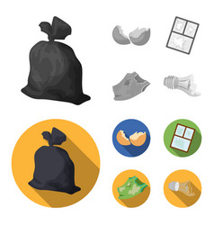 A garbage bag a broken egg shell a torn dirty t vector