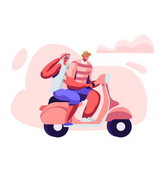 adorable couple cheerful seniors riding motorbike vector image