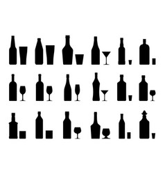 alcohol drinks collection silhouette vector image
