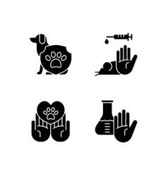 animal testing black glyph icons set on white vector image