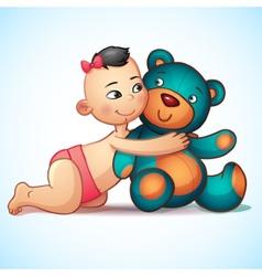 Asian baby girl with hugs teddy bear toy vector