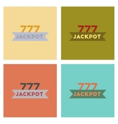 Assembly flat icons poker jackpot Lucky seven vector