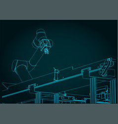 Automated factory line blueprint vector
