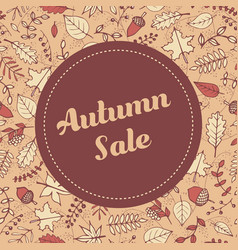 autumn sale banner template with leaves vector image