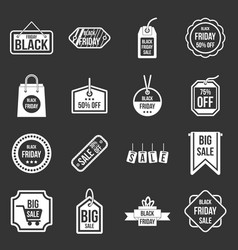 black friday icons set grey vector image