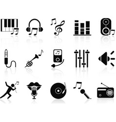 black music audio icons set vector image