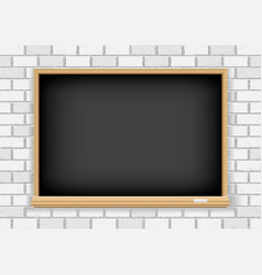 blackboard on white brick background vector image vector image