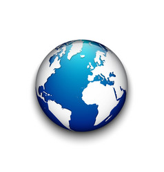 blue earth badge and shadow isolated vector image
