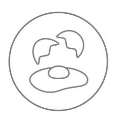 Broken egg and shells line icon vector image