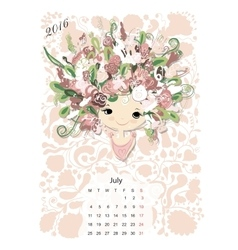 Calendar 2016july month Season girls design vector