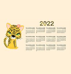Calendar design template for 2022 year vector