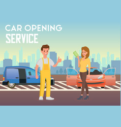 Car opening service flat vector
