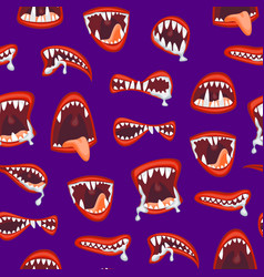 cartoon monster and devil mouth seamless pattern vector image