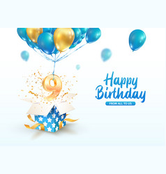 celebrating 9 th years birthday 3d vector image