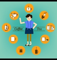 Coffee Tea drink and beverage infographic vector