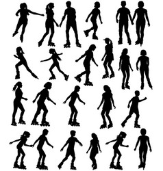 collection silhouettes children and vector image