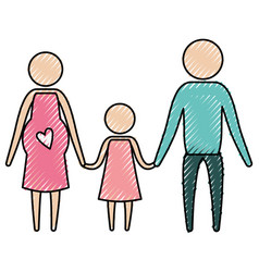 color crayon silhouette pictogram parents with vector image