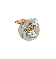 creative happy chef holding pizza in circle logo vector image