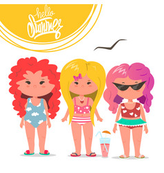 cute girls set summer flat vector image