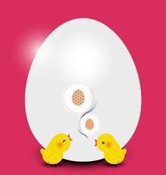 Easter chicks with easter egg vector