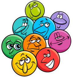 Emotions characters cartoon group vector