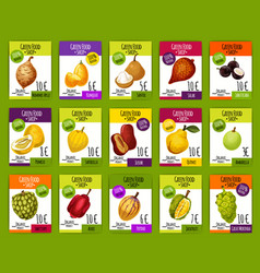 Exotic tropical fruits market price cards vector