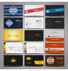 Fifteen colorful business cards vector image
