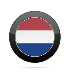 Flag of netherlands shiny black round button vector