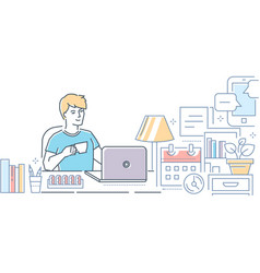 freelance - modern line design style vector image