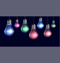 garland of hanging realistic light bulbs with vector image