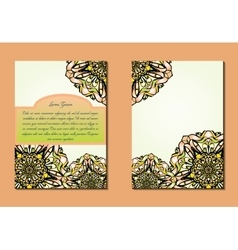 Green and orange brochures or flyers or vector