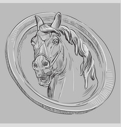 grey stone head horse vector image