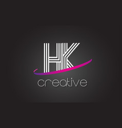 Hk h k letter logo with lines design and purple vector