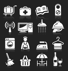 Hotel white icons set vector image