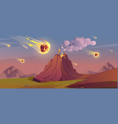 Jurassic period landscape with erupted volcano vector